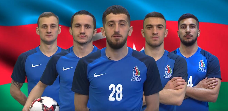 Futbolçuların təbliğat videosundan screenshot