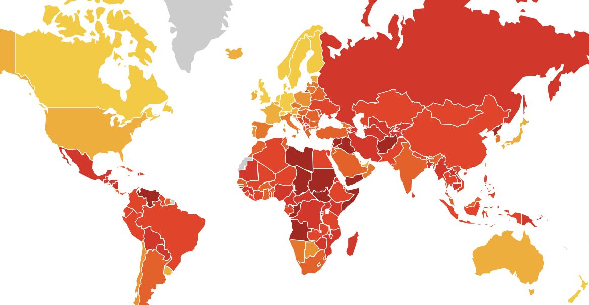Perceived corruption around the world, from yellow (less) to red (more)