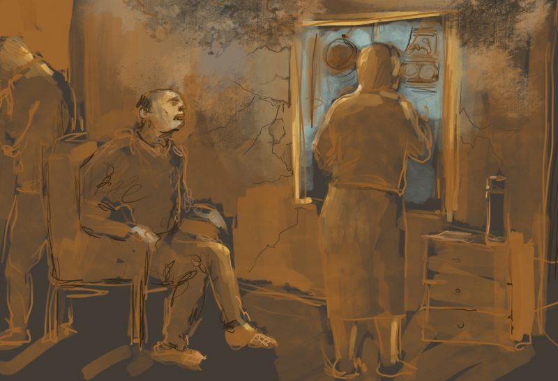 An illustrator's depiction of Baku residents' struggles with threats of eviction.